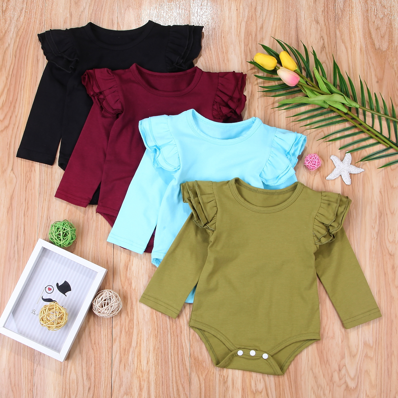 2018 Newborn Toddler Baby Girls Summer Long Sleeves Bodysuit Long Ruffle Sleeve Outfits Solid Jumpsuit Casual Clothing SS