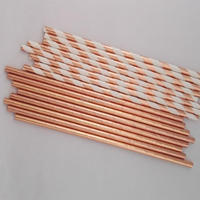 New Arrival 2000pcs Pack Rose Gold Pink Wedding Decoration KidsParty Celebration Paper Straws Drinking Supplies