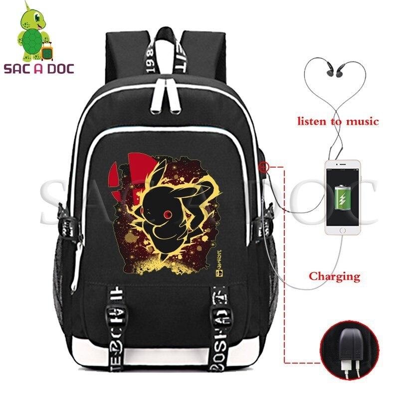 Pokemon Pikachu/Mewtwo sac à dos fluorescent femmes hommes multifonction USB Charge sac à dos pour ordinateur portable pour adolescents sacs de voyage scolaire