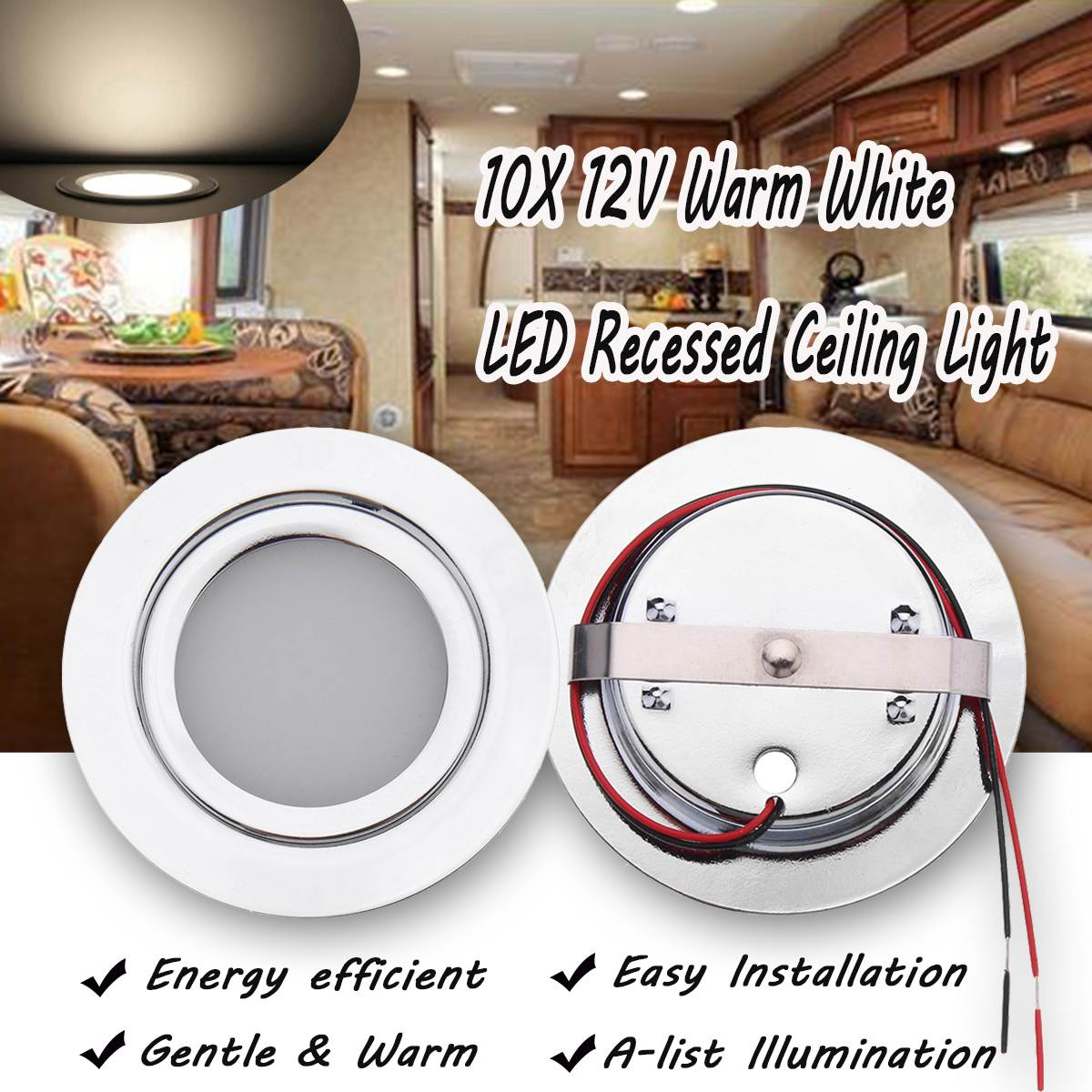 10pcs 12V 70mm LED Recessed Ceiling Light for Camper RV Cabinet Dimmable Warm White Dome Light Interior LED Lamp Motorhome Boat