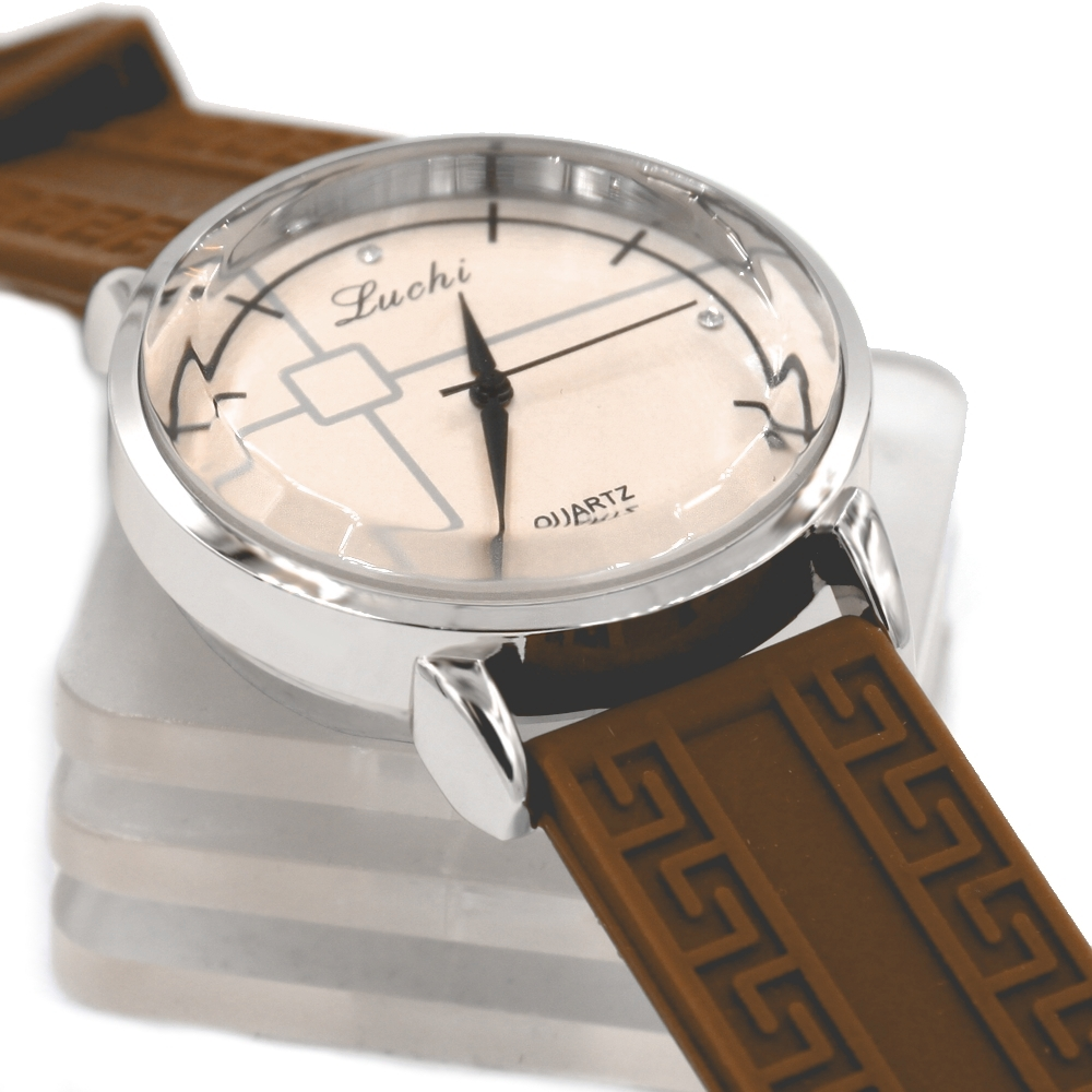 все цены на  Mens Ladies  Round PNP Shiny Silver Watchcase Silicone Brown Band Unisex Fashion Watch FW824E  в интернете