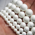 "Natural Stone Beads Tridacna Stone White Round Jade Stone Beads For Jewelry Making 15.5"" Pick Size 4/6/8/10/12 mm  -F00095"