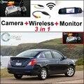 3 in1 Especial Cámara de Visión Trasera + Receptor Inalámbrico + Espejo Monitor de BRICOLAJE Fácil Sistema de Copia de seguridad de Estacionamiento Para Nissan Almera Genuino