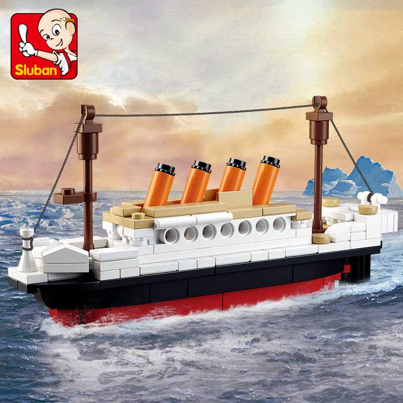 Sluban 0576 RMS Titanic ShipTitanic Boat 3D Model Figure Blocks Compatible Legoe Construction Building Bricks Toys for Children pzx diamond blocks technic bricks building blocks toy vehicle rms titanic ship steam boat model toys for children micro creator