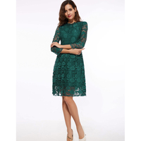 Elegant Lace Dress Women 3 4 Sleeve Off Shoulder Casual Office Dress Size Green Hollow Knee