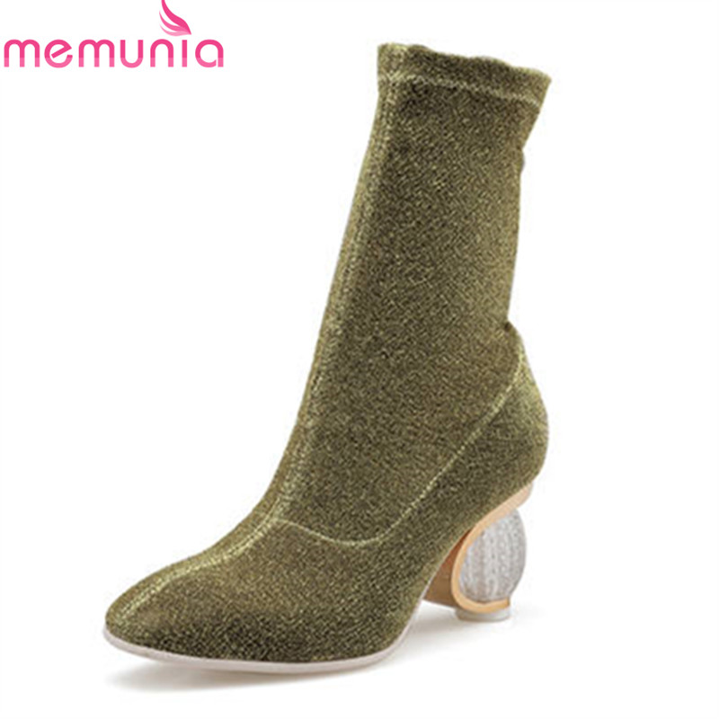 MEMUNIA 2018 new arrival sock boots round toe spring autumn ladies boots slip on fashion ankle boots high heels shoes woman enmayla new women slip on chelsea boots suede black crystal ladies ankle boots for women round toe med heels shoes woman