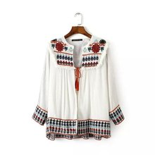 European style 2016 spring summer autumn ethnic vintage nine quarter sleeve floral embroidered shirts blouses Z177