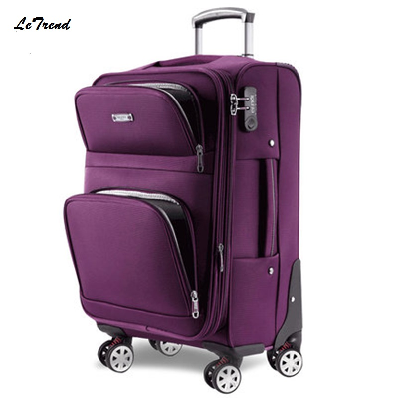 Letrend Men Rolling Luggage Spinner Travel Bag Suitcases Wheel Trolley Business Carry On luggage Women Password Trunk ...