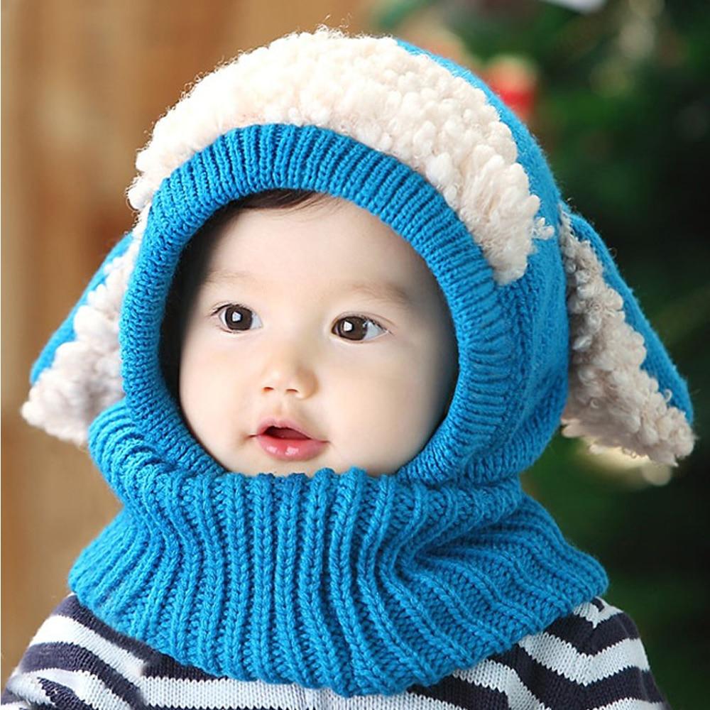 2016 Baby Boys Girls Children Knit Winter Warm Hats Puppy Beanie Caps