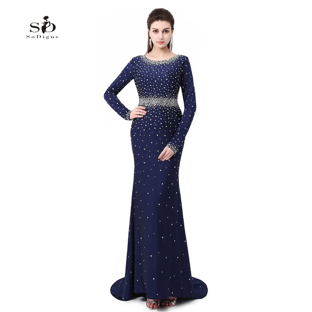 ac5ebeac89 Vestidos Largo De Noche Navy Blue Crystals Plus size Long Sleeve Gown  Elegant Long Gowns Woman Dress 2018 V-neck Custom made