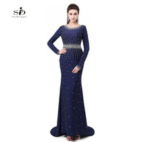 Vestidos Largo De Noche Navy Blue Crystals Prom Dresses Long Sleeve Gown Elegant Long Gowns Woman