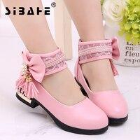 Sibahe Kızlar Deri Ayakkabı Papyon Püskül Parti Çocuk Ayakkabıları Çocuk Düğün Prenses Ayakkabı Pembe Siyah Beyaz boyutu 27-36 çocuklar Ayakkabı