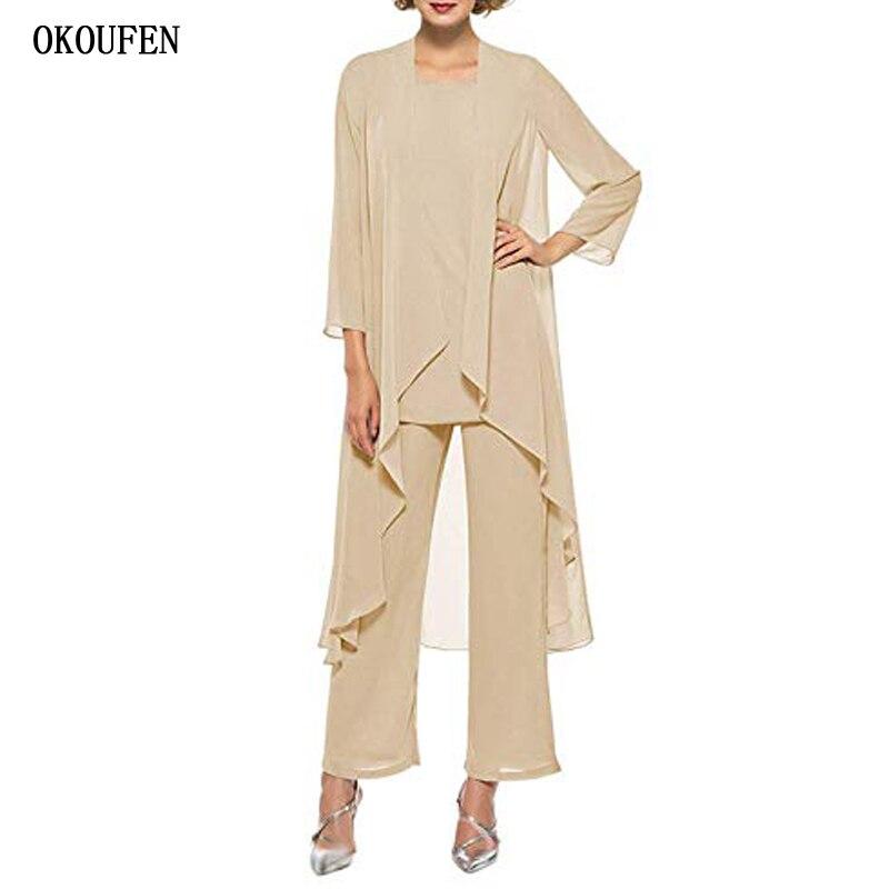 OKOUFEN Mother Of The Bride Dresses Pantsuits for Wedding 2019 Chiffon 3 Pieces Set Simple Custom Make Kurti vestido de madrinha