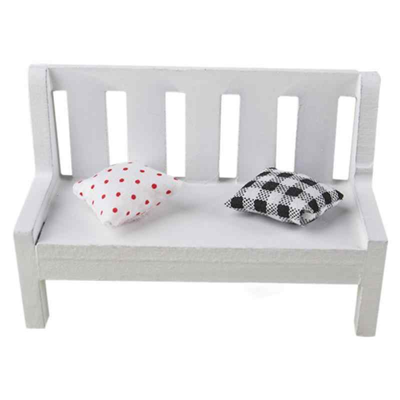 Modern Simple Miniature Wooden Bench Cushions Kid Dollhouse Home Garden Ornament Furniture Accessory 10.5 * 5 * 7 CM