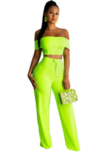 Adogirl Fluorescent Green Women Two Piece Set Slash Neck Off Shoulder Short Sleeve Crop Top + Wide Leg Pants Club Party Outfits
