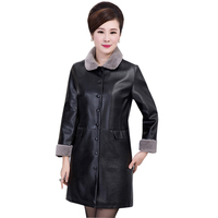 Winter Faux Leather Jacket Fur Collar Coat Women Slim Long Pu Leather Thick Suede Jacket Female