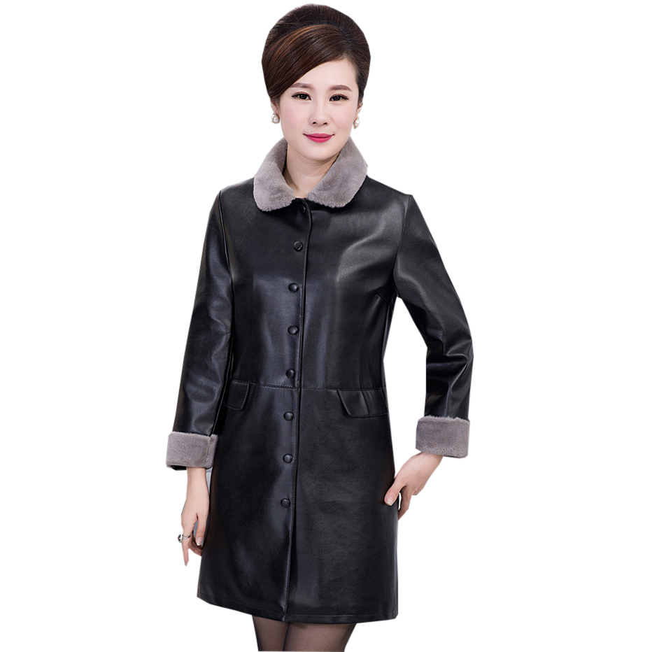 Winter Faux   Leather   Jacket Fur Collar Coat Women Slim Long Pu   Leather   Thick   Suede   Jacket Female Outerwear Coats Plus Size RE0157
