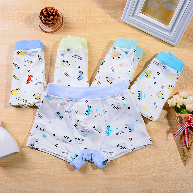 new free shipping high quality boys boxer shorts panties kids character car children underwear 2-10years old 5pcs/lot