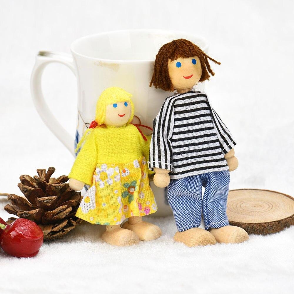 6 Куклы Мультфильм деревянный дом Семья людей детская Ролевые игры подарок игрушка, игрушка образования Игрушки для маленьких детей и игры ...