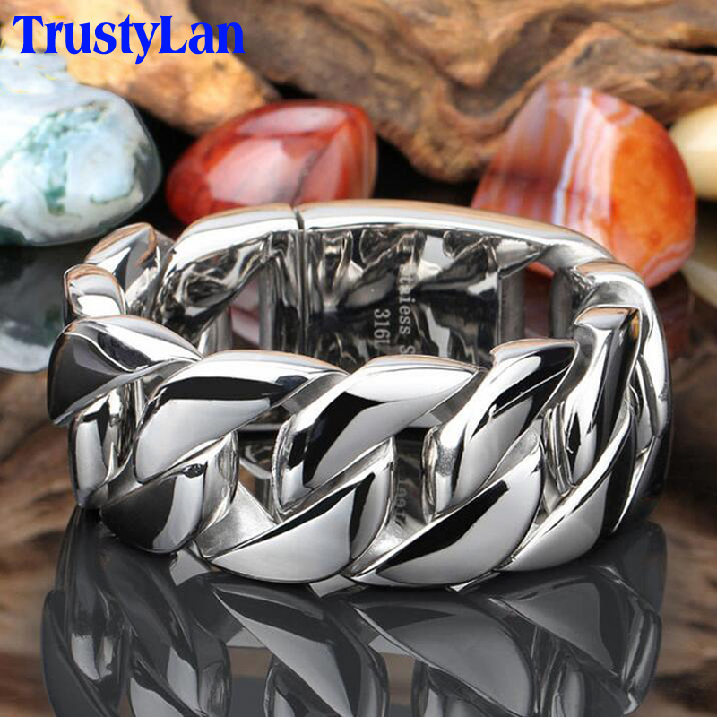 TrustyLan 31MM Wide Shiny Bracelet Men Cool Punk Stainless Steel Jewelry Fashion Men's Bracelets & Bangles Hand Thick Chain trustylan shiny glossy 316l stainless steel mens bracelets 2018 20mm wide chain bracelets jewellery accessory man bracelet