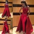 Honey qiao árabe myriam fares vestidos sem calças 2017 ilusão kaftan dubai muçulmano cetim vermelho sexy a line mulheres prom vestidos