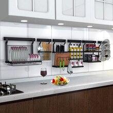 De almacenamiento de acero inoxidable soportes de estantes de la cocina  estante de pared desagüe plato Rack tapa de la olla de e. fa96049d3b5a