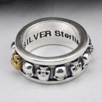 S925 Sterling Silver Rotating Skull Men Rings Brings Luck Retro Punk Rock Style Aneis Vintage Fine