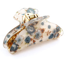 New Woman Dark Blue Florals Pattern Plastic Hair Claw Clip Clamp(China)