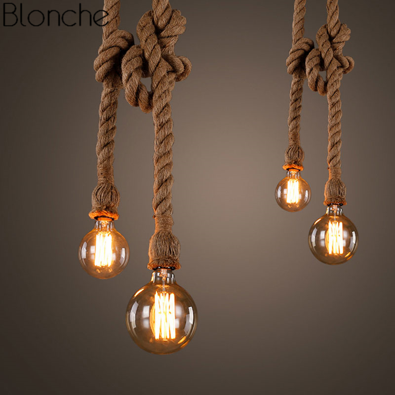 Vintage chanvre corde pendentif lumières rétro Loft industriel suspension lampe pour salon maison luminaires décor Led Luminaire
