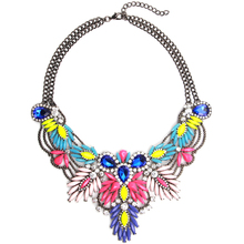 New Fashion Vintage Flower Bohemia Necklace Unique Collar Pendant Chunky Necklace Statement Jewelry For Women Necklaces Jewelry