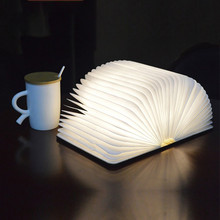 Hot Innovative LED Foldable Wooden Book Shape Desk Lamp 5W USB Rechargeable Portable Folding Book Reading Light for Home Decor все цены