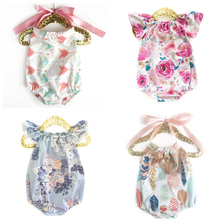 Summer Girls Baby Sling  Naked Back Romper Newborn New Design Cotton Flower print romper Boy Clothing rainbow Triangle Jumpsuits недорого