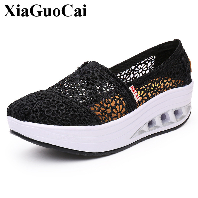 Spring&Summer Breathable Casual Shoes Lace Women Wedges Heel Slip-on Platform Shoes Fashion Light and Soft Walking Shoes H508 35 breathable peep toe women s wedges platform shoes summer 2017 knit woven plaid casual shoes women walking shoes