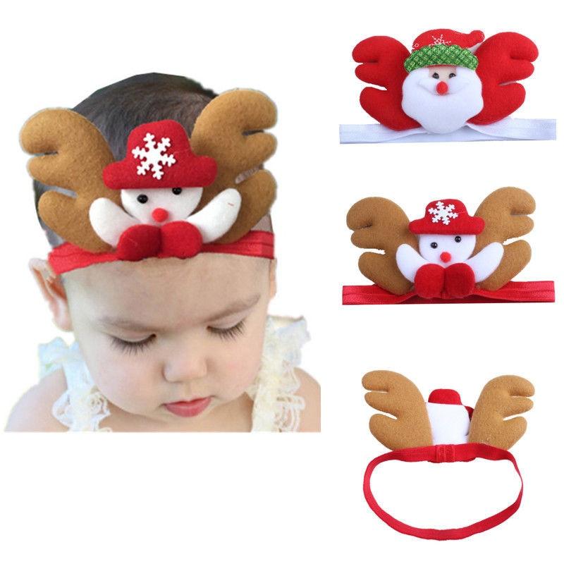 Pudcoco Newborn Baby Toddler Girl Kid Christmas Reindeer Santa Claus Hair Band Headband Hair Accessories