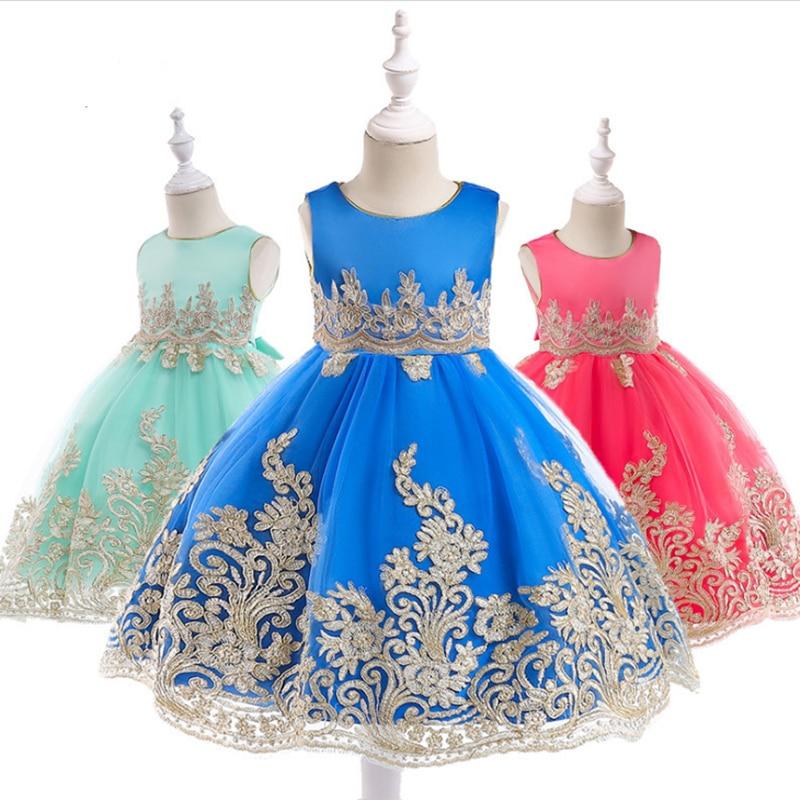 Детское платье с цветочной аппликацией, Золотое Платье для девочек на свадьбу, лето 2019