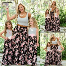 лучшая цена Mommy And Me Family Matching Mom And Girl Daughter Dress Mother Daughter Dresses Clothes Striped Kids Parent Child Outfits Look