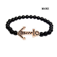 Promotions New Inlay Anchor Bracelet Zircon Natural Stone Beads Handmade Beaded Bracelet Fashion Jewelry for Women's Gifts