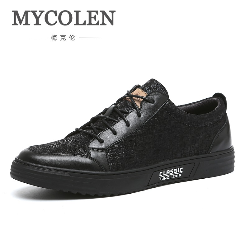 MYCOLEN Men Sneakers Black Casual Shoes 2018 Summer Fashion Men Footwear Breathable Lace Up Flats Shoes Zapatos De Los Hombres 2017 new spring imported leather men s shoes white eather shoes breathable sneaker fashion men casual shoes