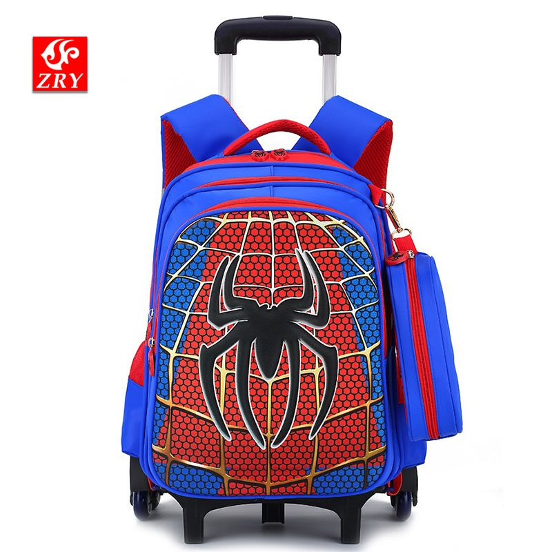 Trolley School Bag For Boys Kids Rolling Backpacks Travel Luggage Six Or Two Wheels Student Bookbag Primary School Supplier Bags
