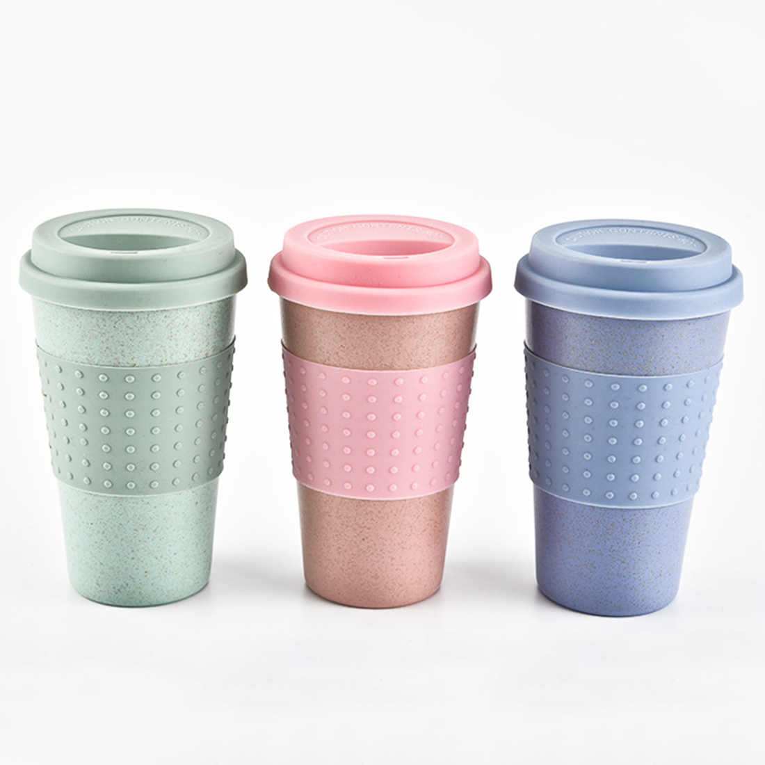 Plastic Wheat Straw Coffee Cups Travel Coffee Mug With Lid Travel Easy Go Cup Portable for Outdoor Camping Hiking Picnic