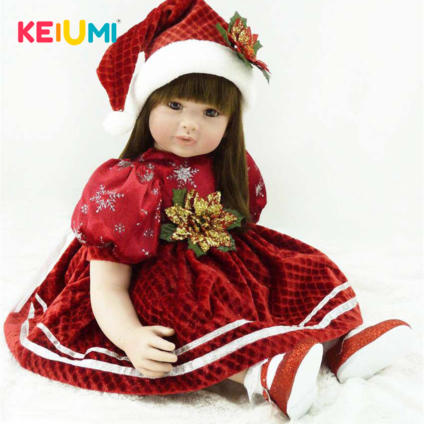 KEIUMI 24'' Christmas Girl Silicone Baby Doll Toys Lifelike Princess 60 cm Newborn Reborn Babies Dolls For Kids Birthday Gifts keiumi realistic silicone reborn babies doll lifelike 22 princess baby girl doll gold hair bebe reborn toys for kids gifts