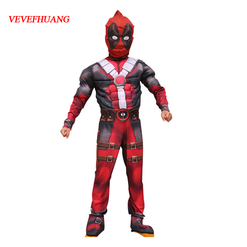 VEVEFHUANG Deadpool Cosplay Costume for Boys Party Dress Deadpool Costume Halloween for Kids Carnival