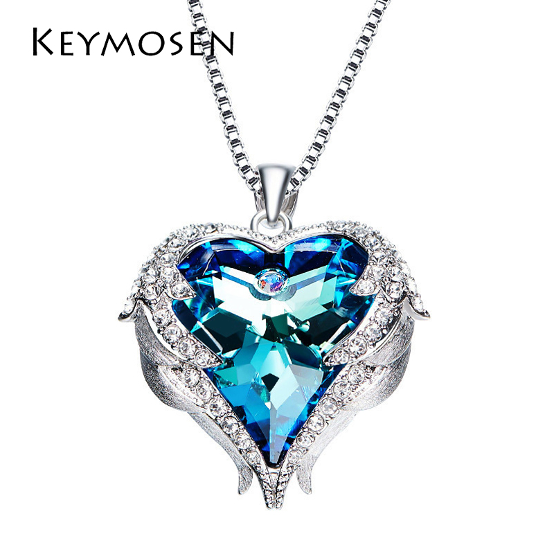 1pcs Fashion Women Jewelry Heart Of The Sea Necklace Women With Elements Heart Shaped Crystal Pendant