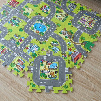 New! 9pcs Baby EVA foam puzzle play floor mat,City Road Education and interlocking tiles and traffic route ground pad (no edge) 1