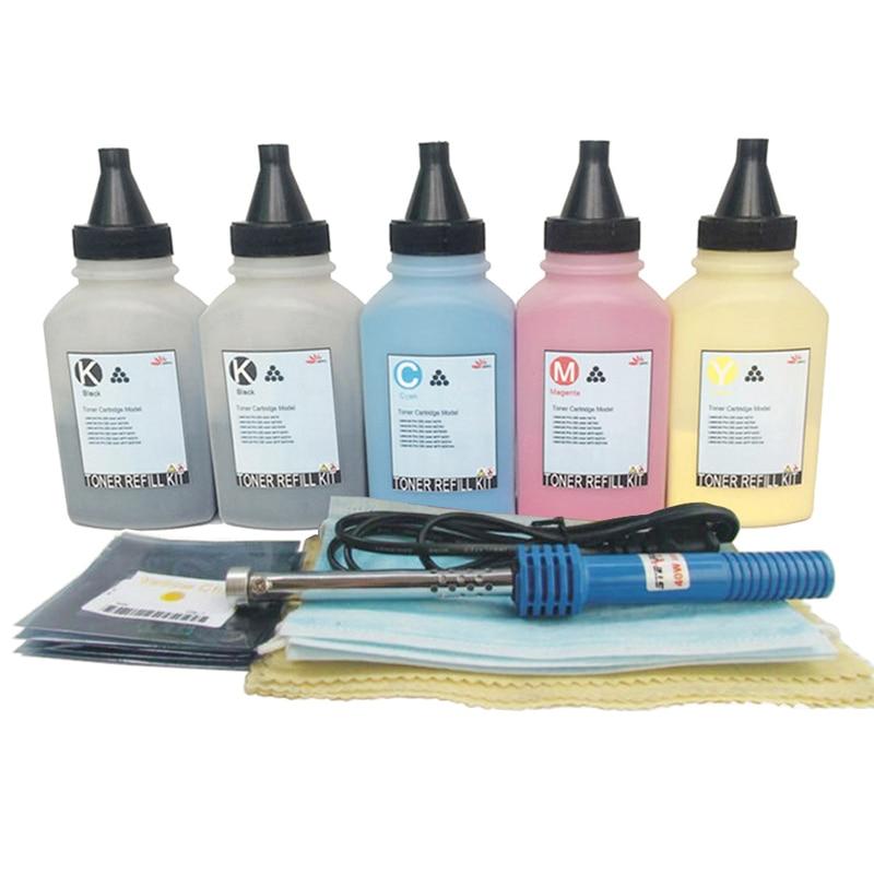 Toner Refill Powder Kit Chips for HP Laserjet 305a CE410a M451dn M451dw M451nw MFP M375nw M475dn M475dw M351 KKCMY new for hp color laserjet cm1415fn mfp cm1415fnw low price for hp ce320a ce321a ce322a ce323a bottle toner powder refill kit