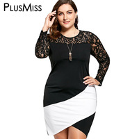 PlusMiss Plus Size 5XL Sexy Lace Crochet Panel Asymmetrical Long Sleeve Dress Women Bodycon Elegant Evening