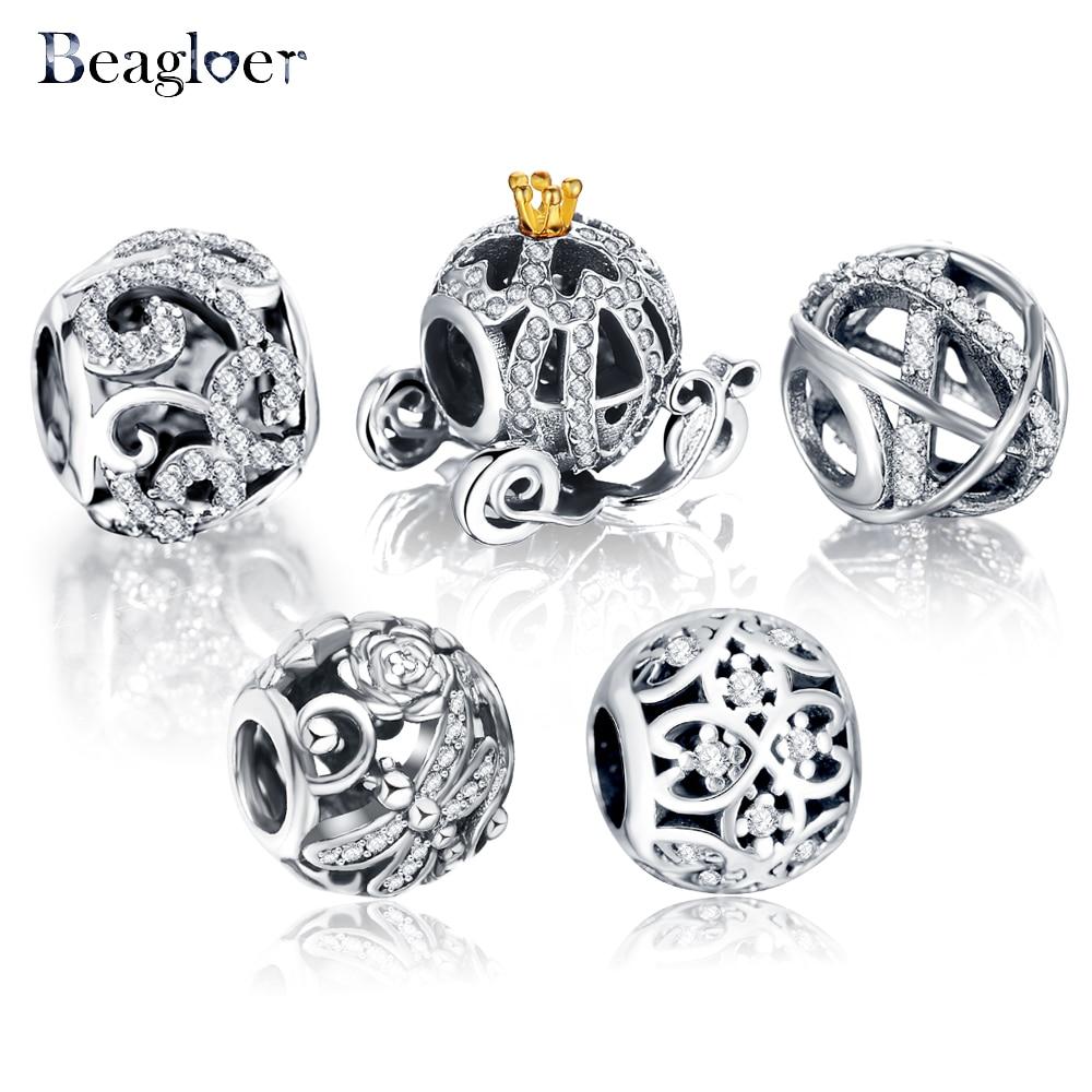 Beagloer 100% 925 стерлингового серебра soild полые шарик шарма Fit Марка браслет подлинной роскоши DIY ювелирных PSMB0239