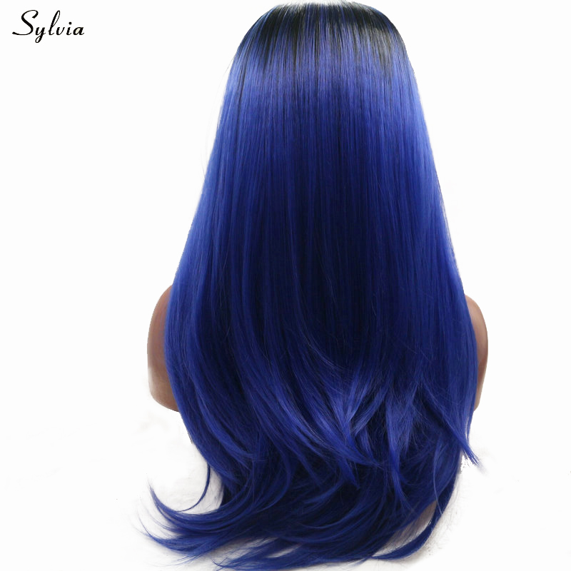 Us 35 69 30 Off Sylvia Synthetic Lace Front Wig Sapphire Blue Ombre Black Straight Long Hair Heat Resistant Fiber Lace Wig For Women Partymakeup In