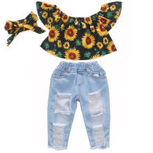 3PCS Toddler Baby Girl Sunflower Tops Denim Pants Ripped Jeans Summer Outfits Kids Cltohes