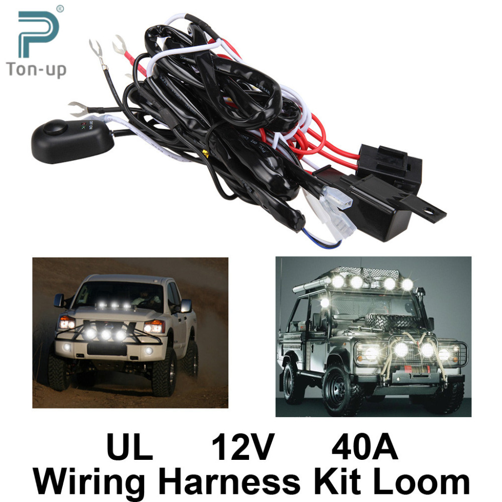 Universal Car Fog Light Wiring Harness Kit Loom For LED Work Driving Light Bar With Fuse online shop universal car fog light wiring harness kit loom for fog light wiring kit at edmiracle.co